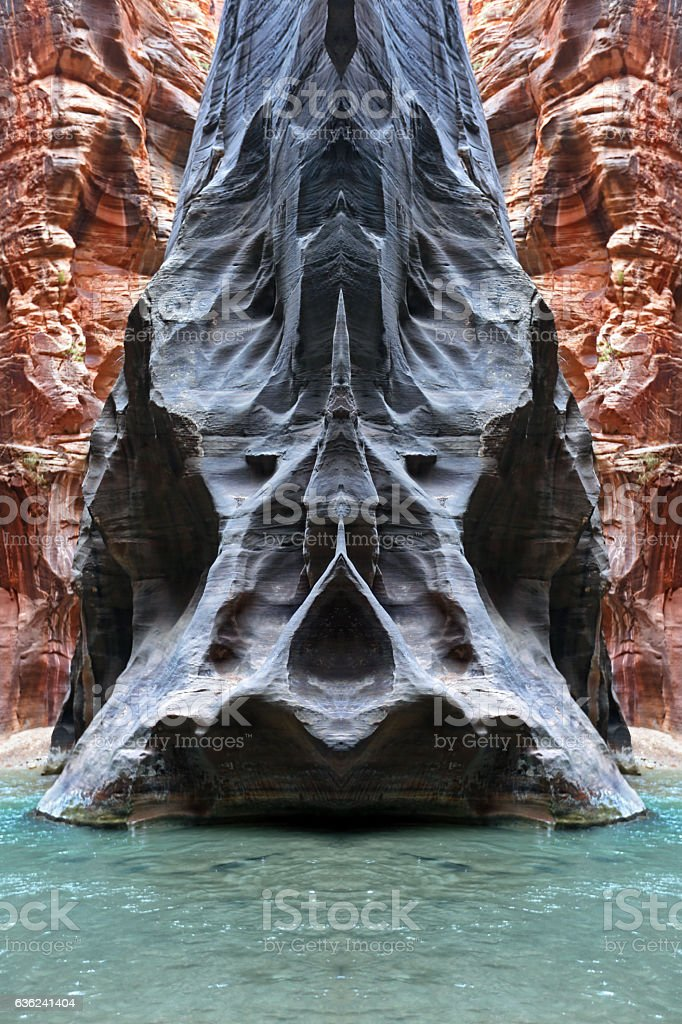 My Secret Rock Formation in the Narrows, Zion National Park stock photo