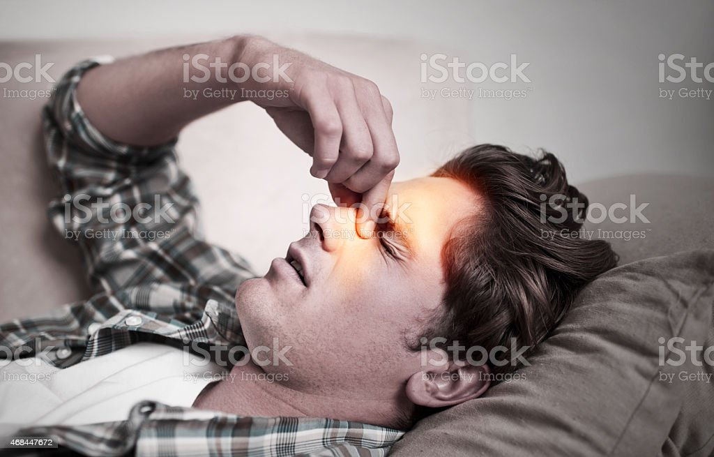 My sinuses are so blocked! stock photo