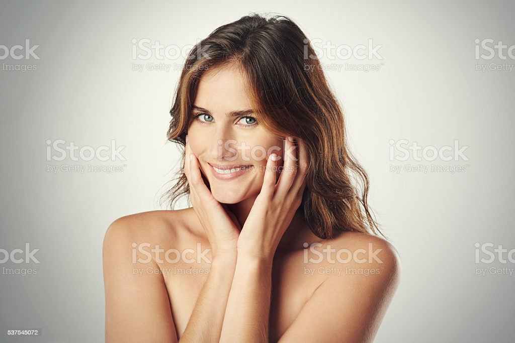 My skin feels so healthy and nourished stock photo