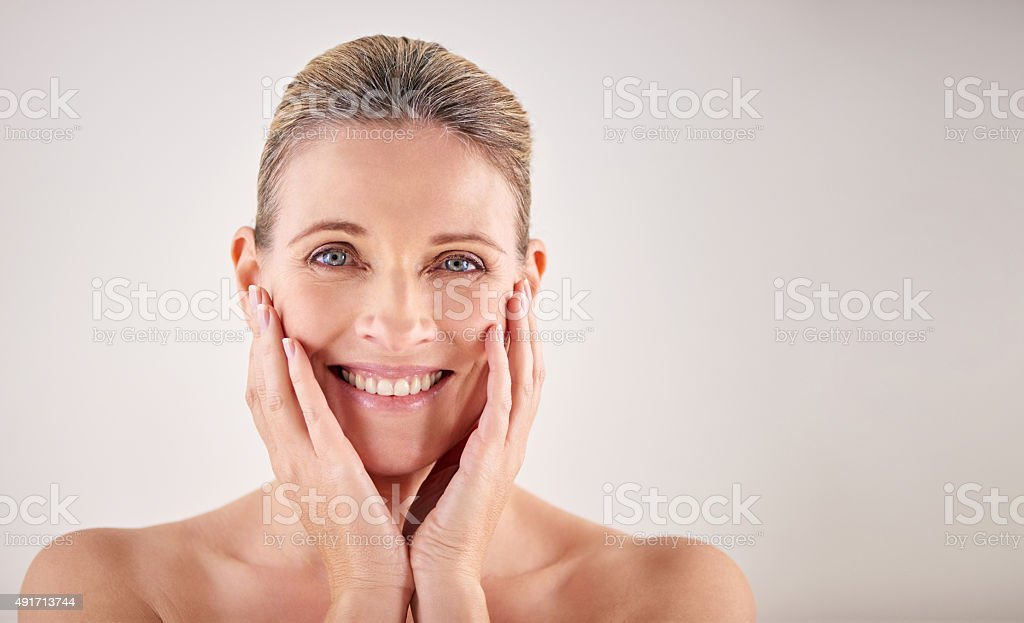 My skin still feels great! stock photo