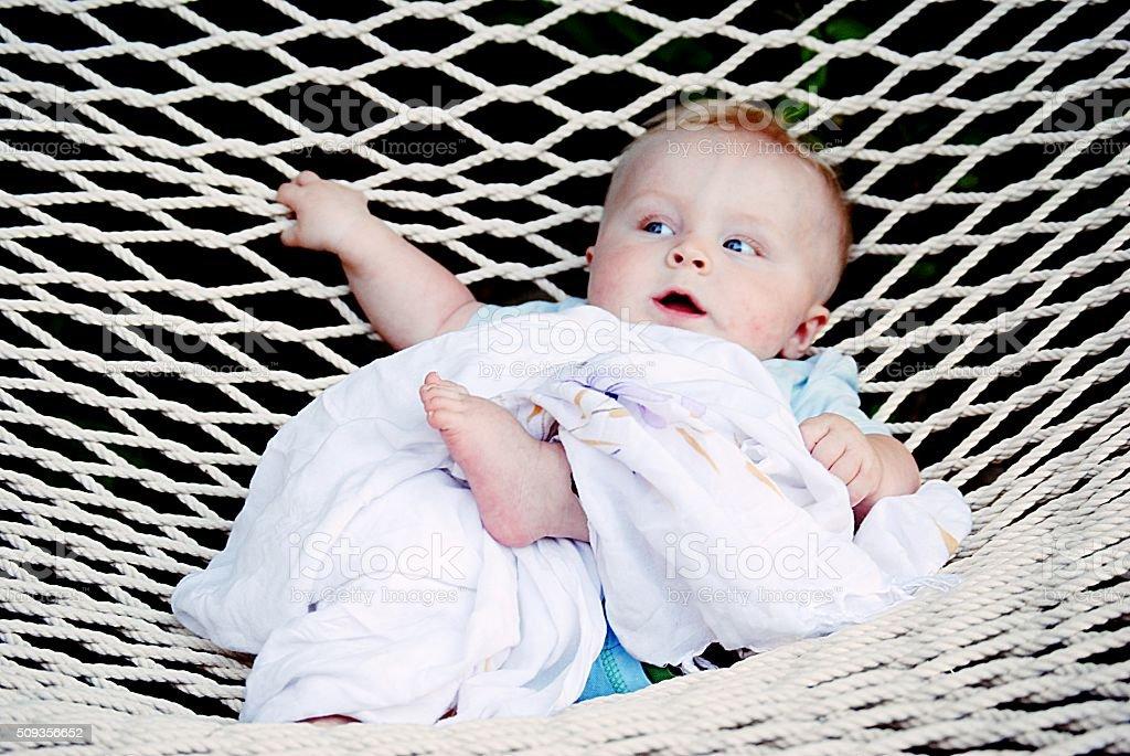 My son in Hammock stock photo