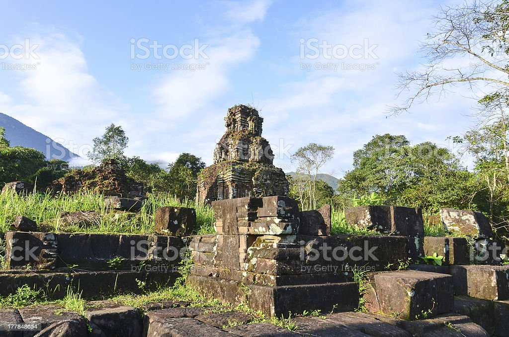 My Son Ruins Remaining's of Temple B1 stock photo