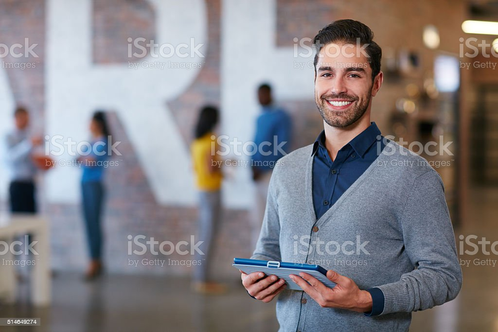 My tablet always comes in handy stock photo
