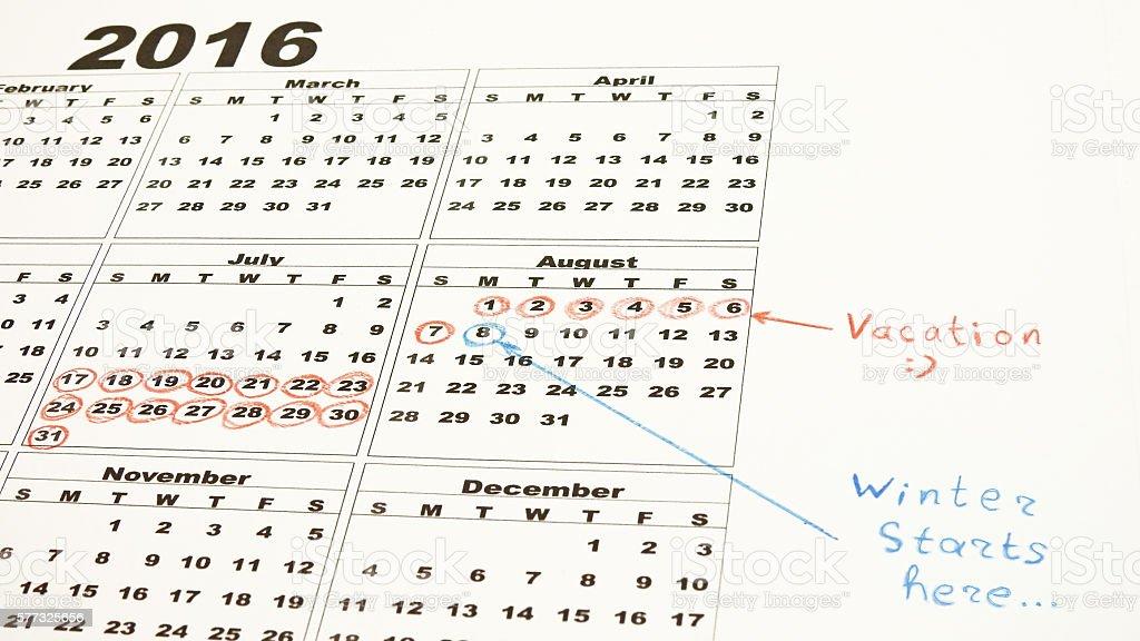 My vacation calendar stock photo