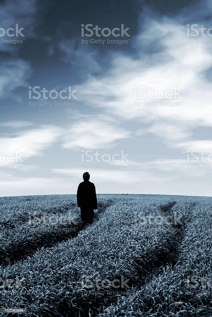 my way (man on the field) royalty-free stock photo