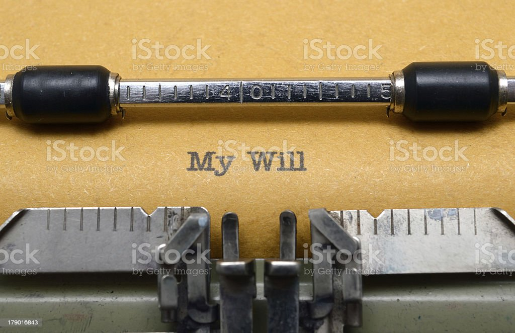 My will text on typewriter royalty-free stock photo