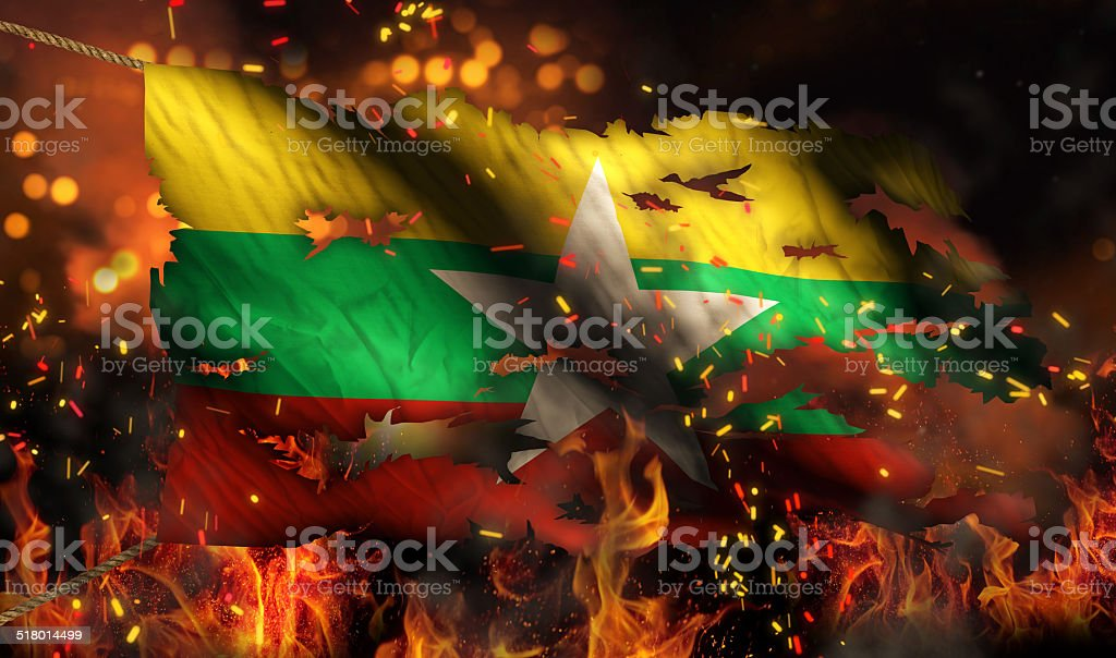 Myanmar Burning Fire Flag War Conflict Night 3D stock photo