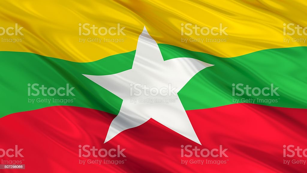 Myanmar Flag. 3d illustration stock photo