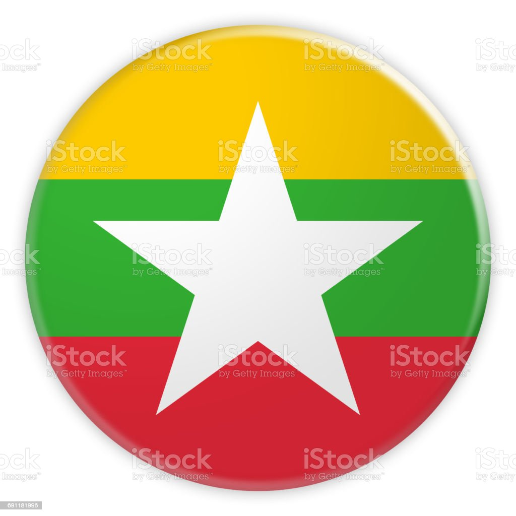 Myanmar Flag Button, News Concept Badge, 3d illustration on white background stock photo