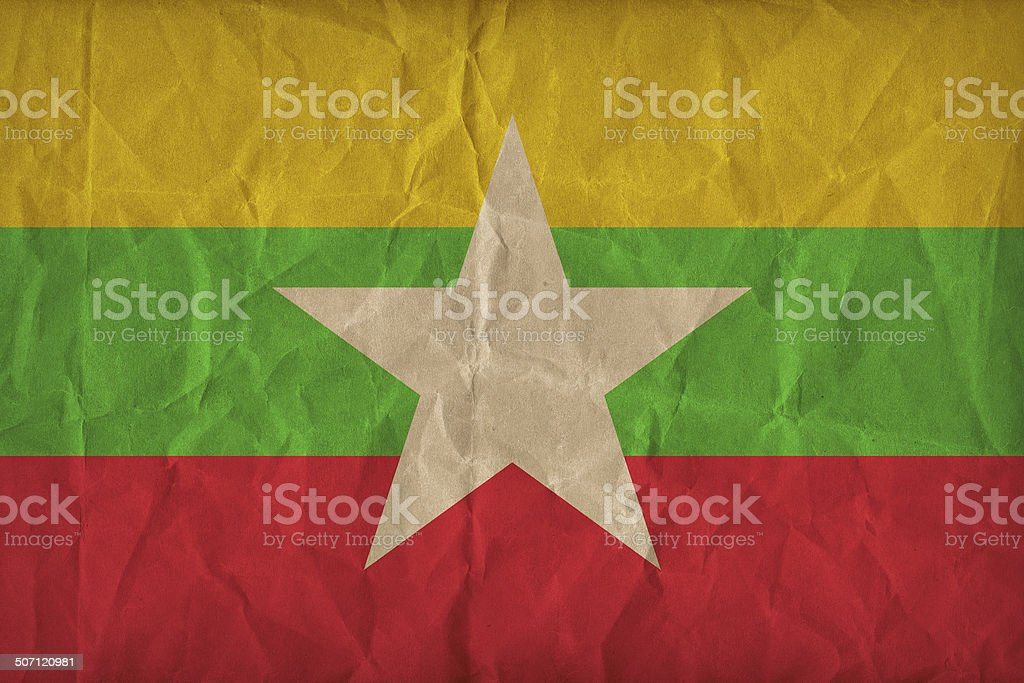 myanmar flag pattern on the paper texture, retro vintage style stock photo