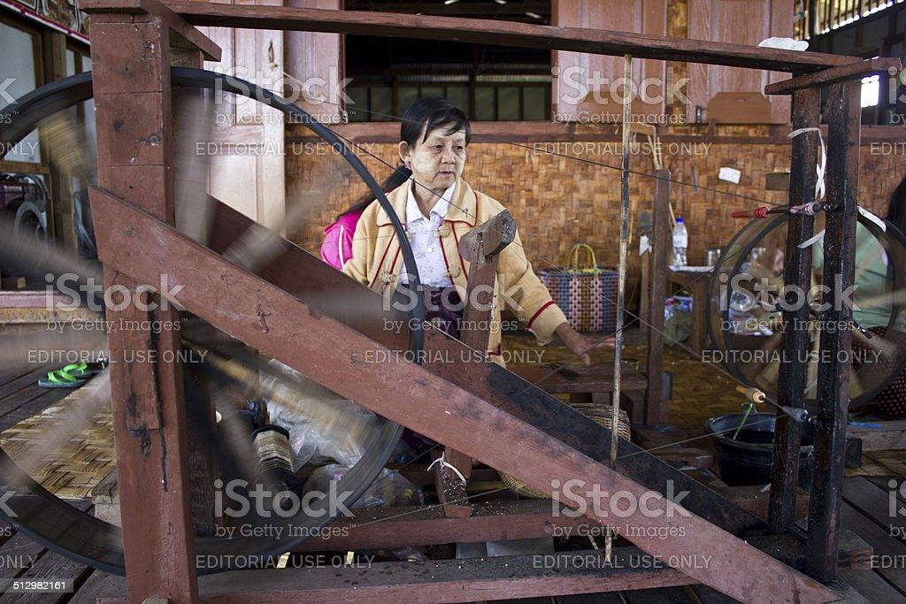 Myanmar hand-loom woman. stock photo