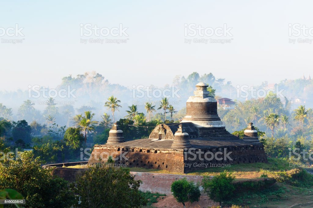 Myanmar Mrauk u ruin stock photo