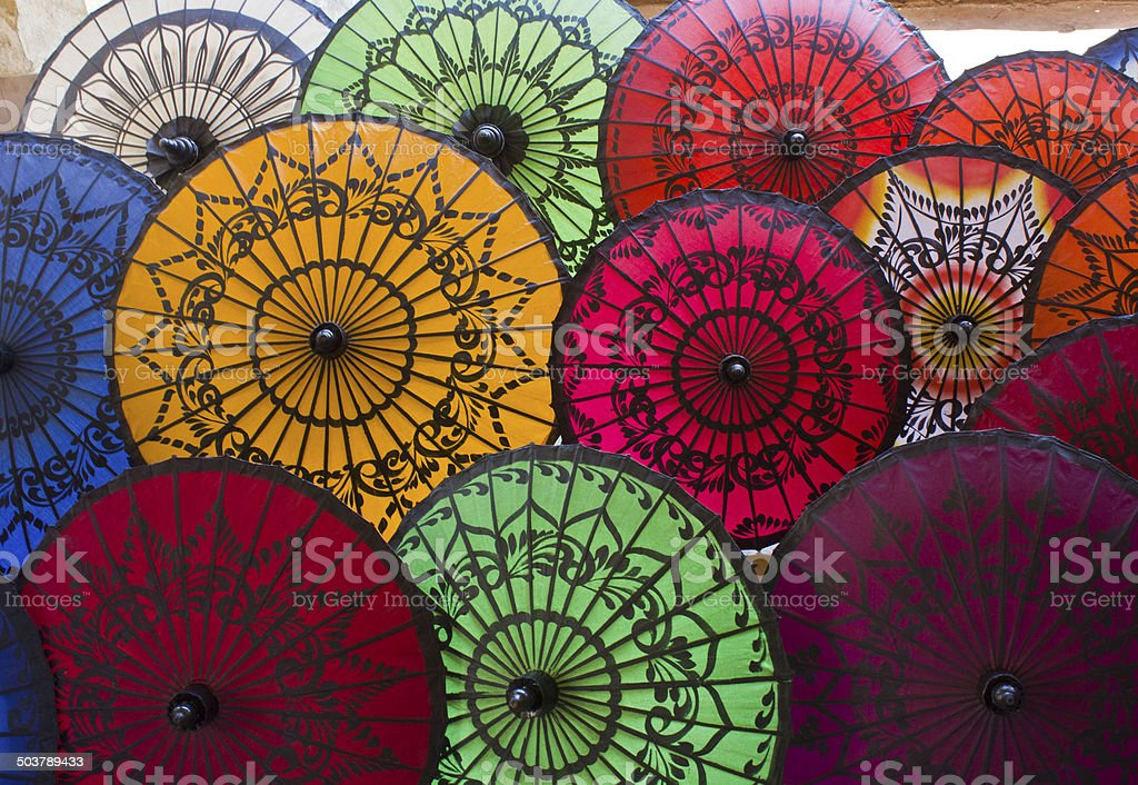 Myanmar Typical and colorful Umbrellas stock photo