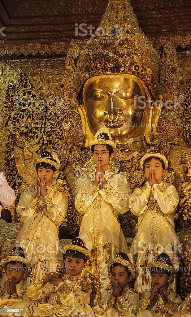 Myanmar: Young Monk's Initiation Ceremony royalty-free stock photo