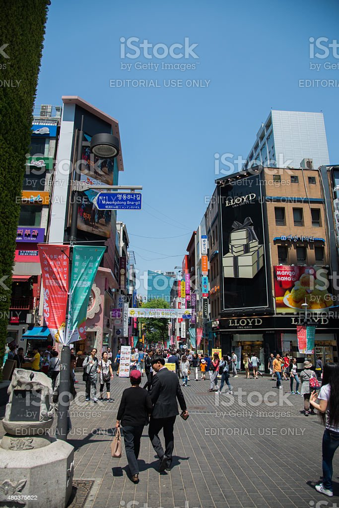 Myeong dongshopping street in Seoul, South Korea stock photo