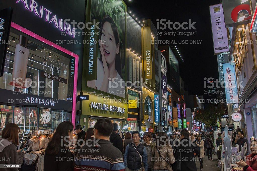 Myeongdong shopping street stock photo