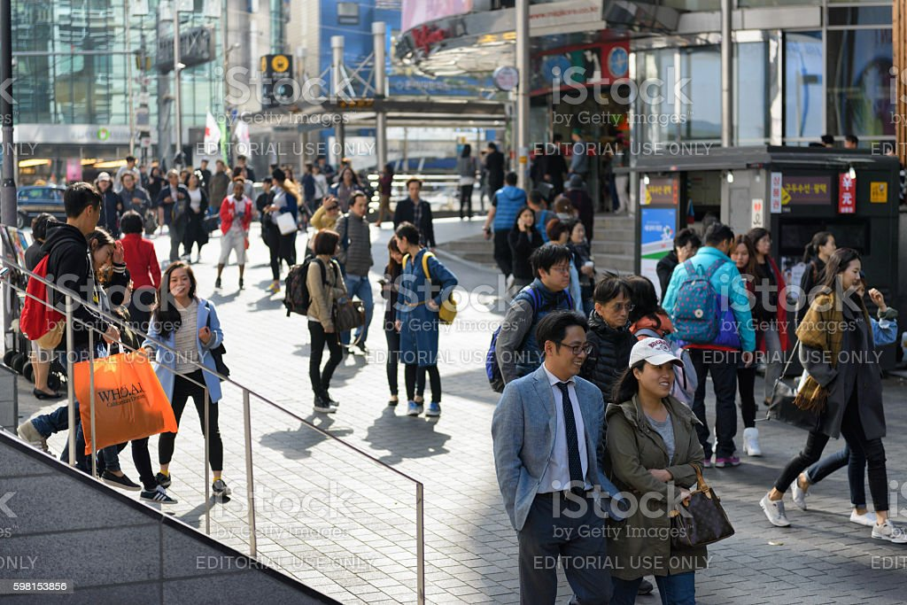 Myeong-dong shopping street stock photo