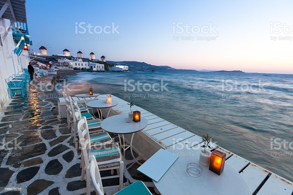 Mykonos at Dusk stock photo