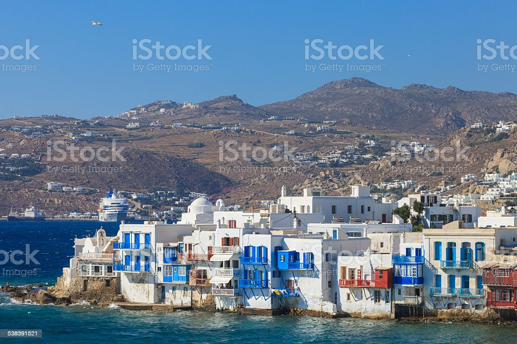 Mykonos seen from the sea stock photo