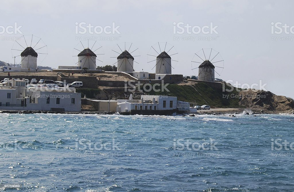 Mykonos Town Windmills royalty-free stock photo