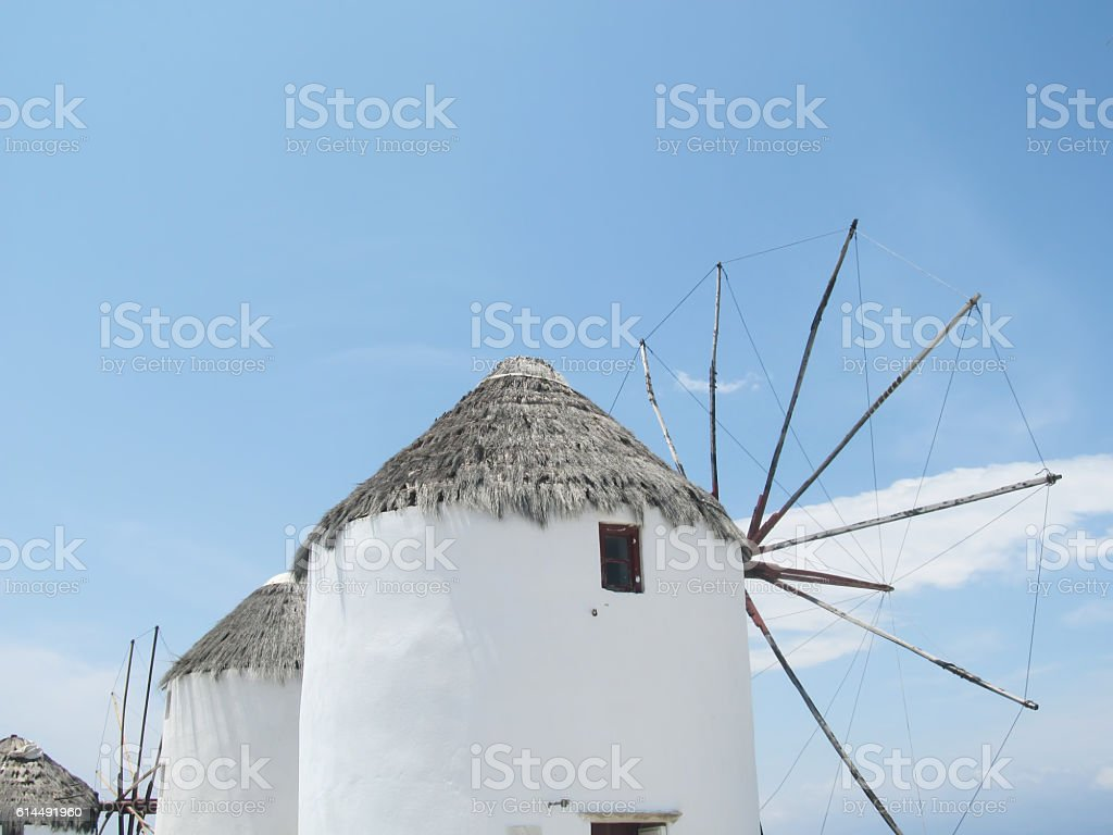 Mykonos windmills stock photo