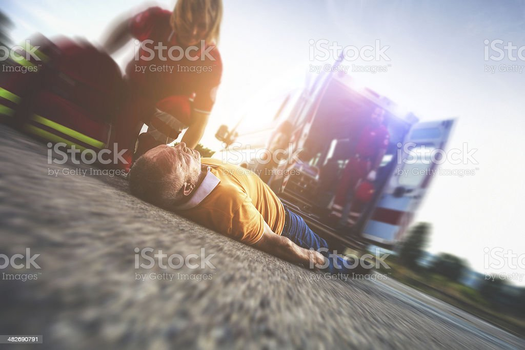 Myocardial attack on the street stock photo