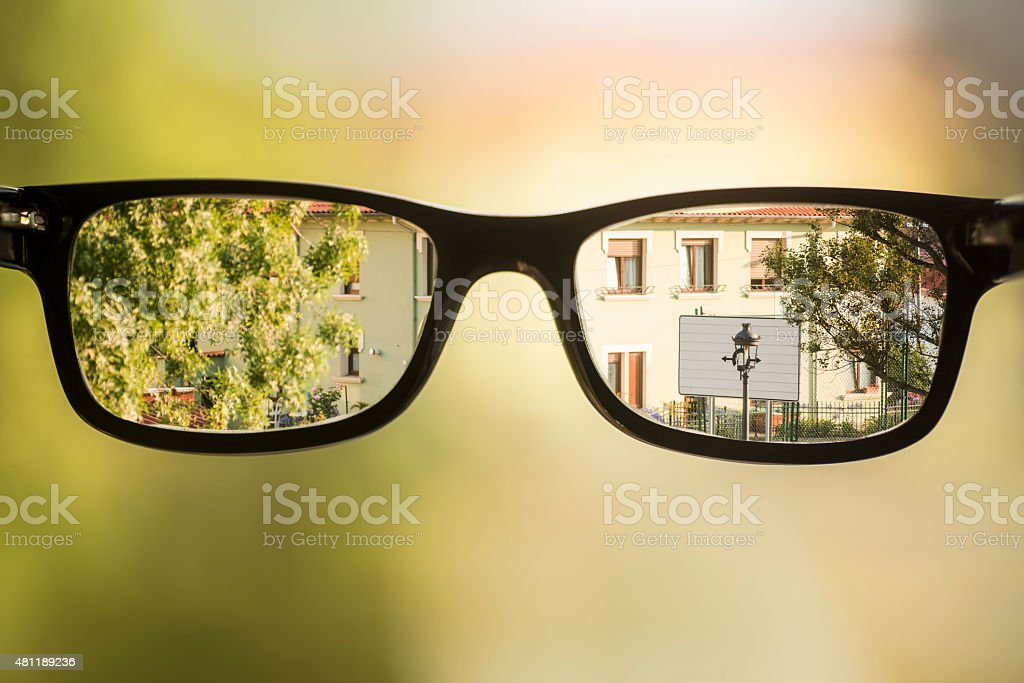 Myopia glasses stock photo