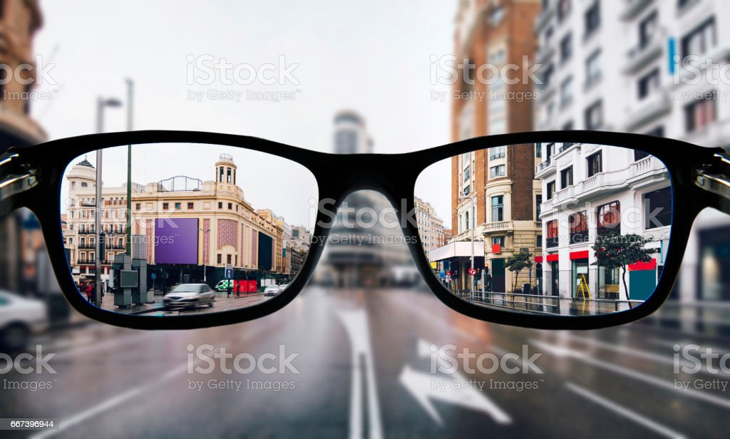 Myopia in Madrid stock photo