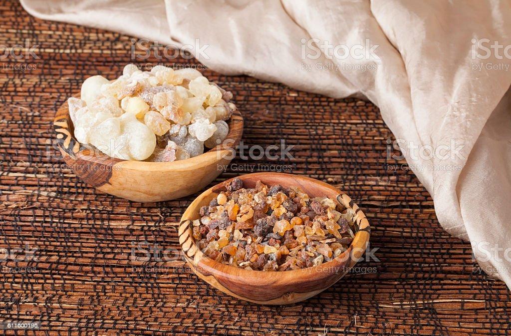 Myrrh and frankincense stock photo