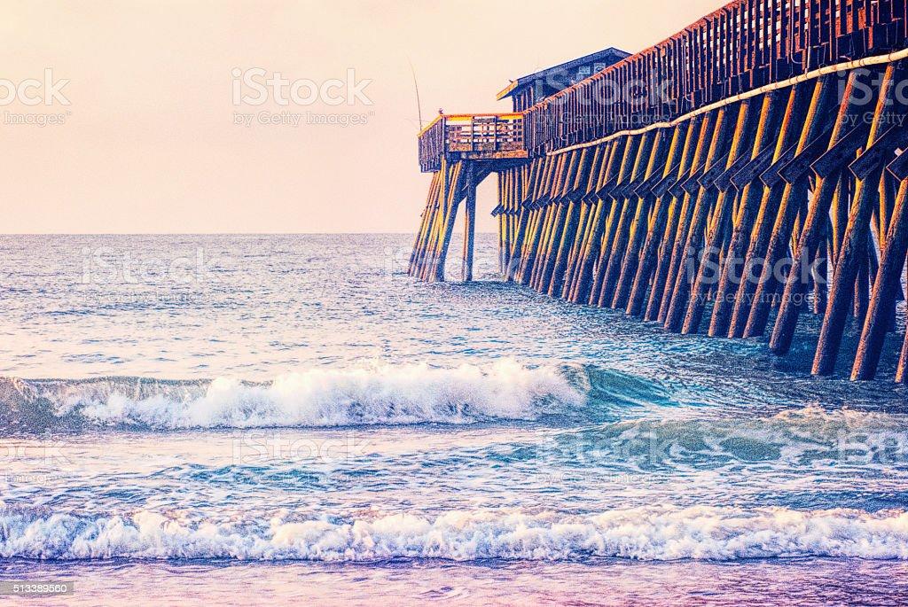 Myrtle Beach State Park Pier at Sunrise stock photo