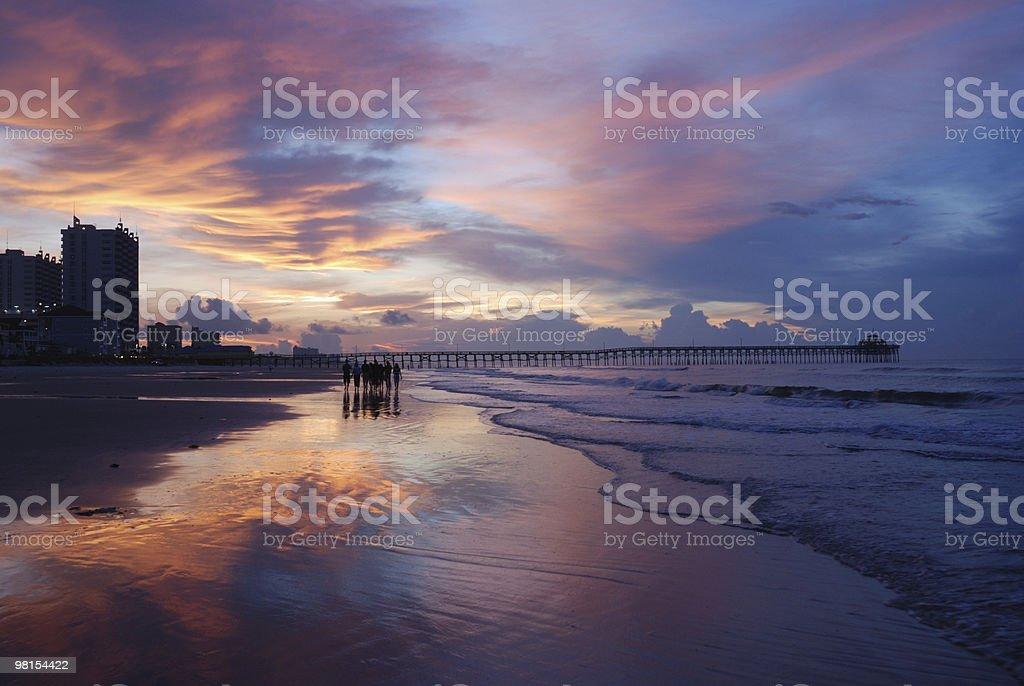 Myrtle Beach Sunrise Walk stock photo