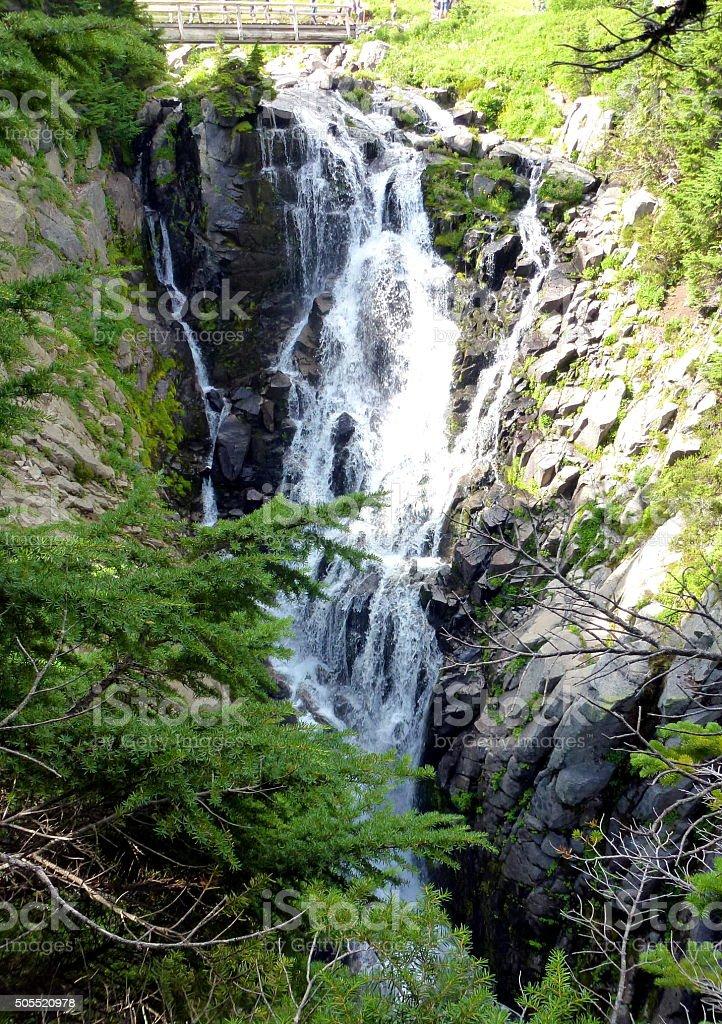 Myrtle Falls in Mt Rainier National Park stock photo