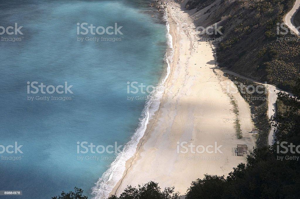 Myrtos famous beach in Cephalonia, Ionian island, Greece royalty-free stock photo
