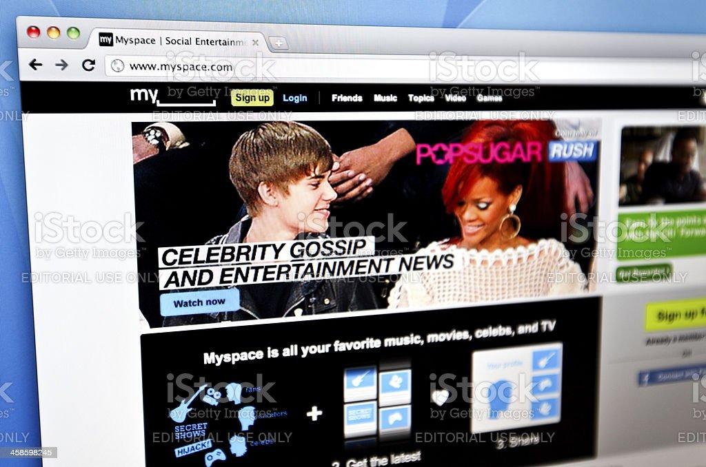 MySpace homepage. royalty-free stock photo