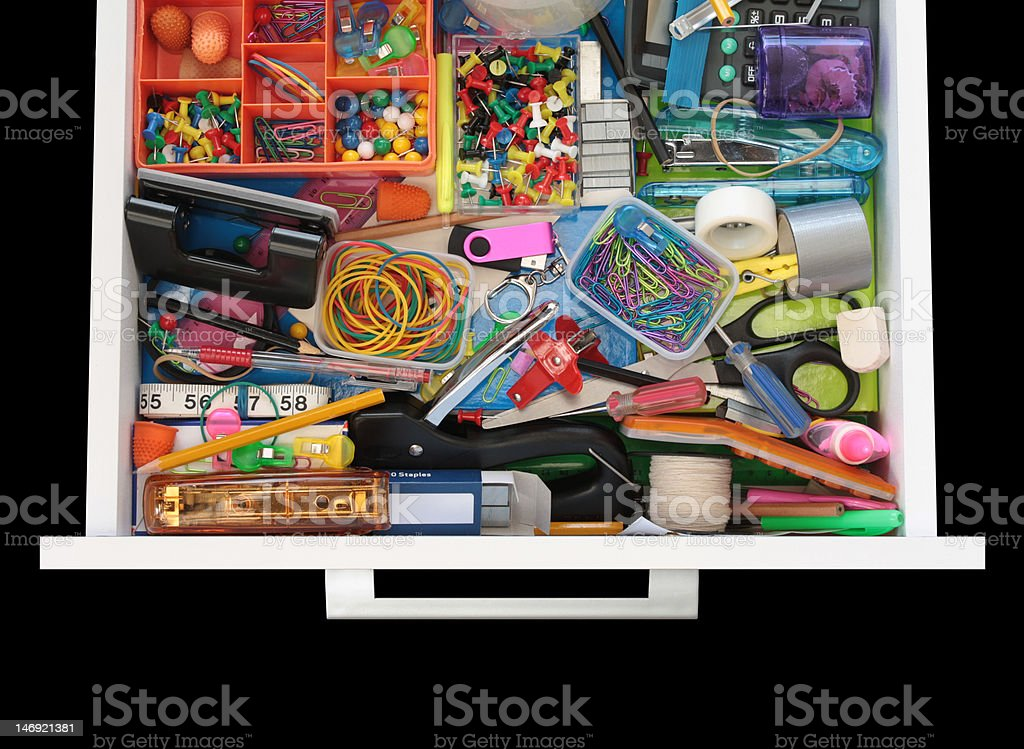 Mysteries of the Stationery Drawer on Black royalty-free stock photo