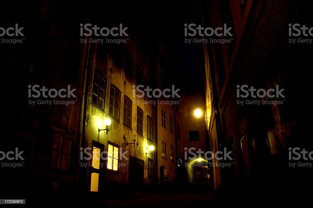 Mysterious alley in Stockholm royalty-free stock photo