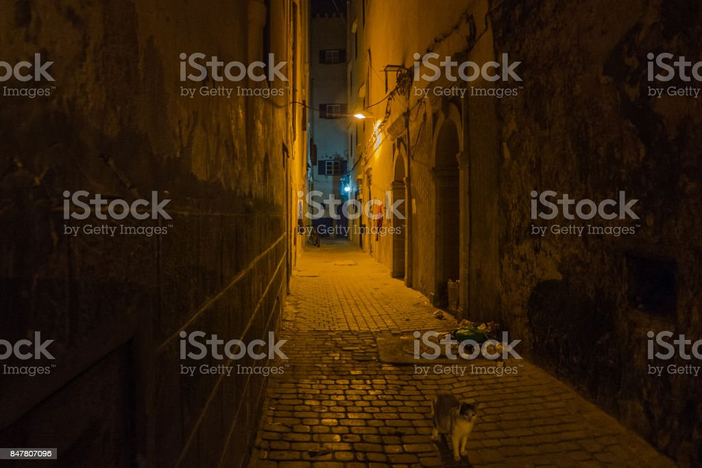 A mysterious alley in the night. stock photo