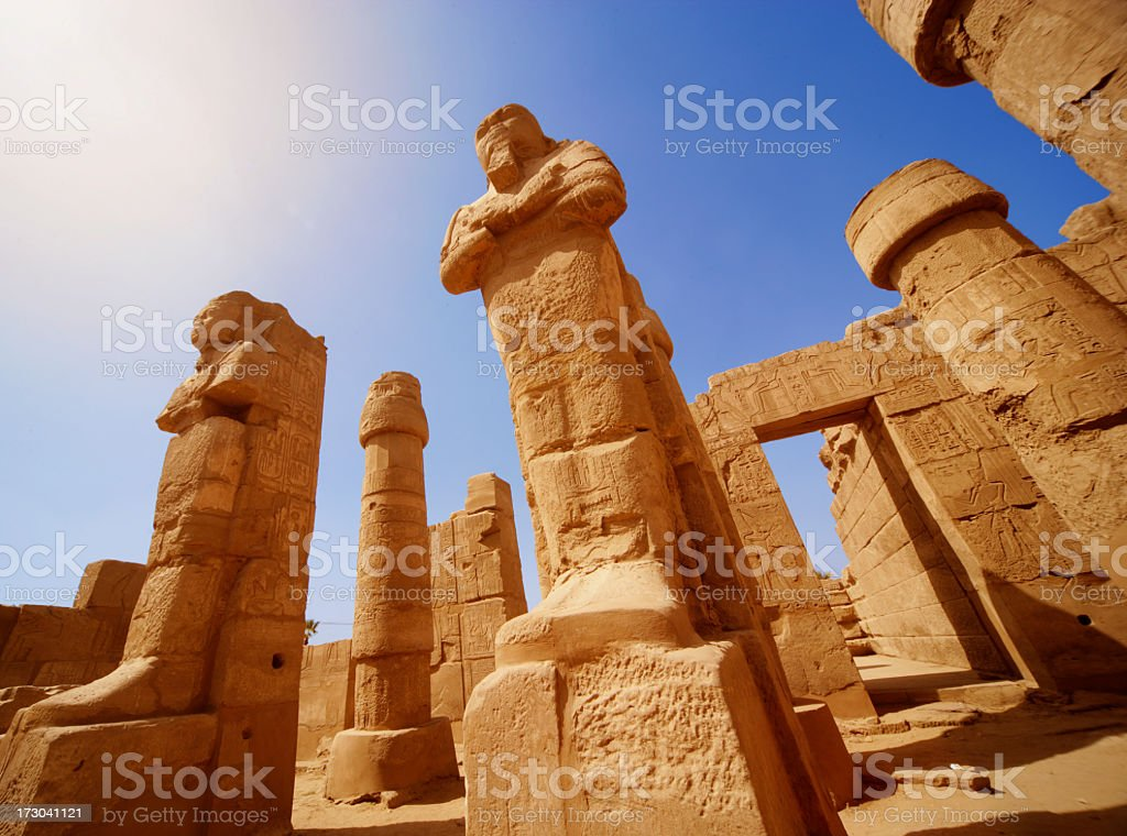 Mysterious ancient temple ruins in Egypt stock photo
