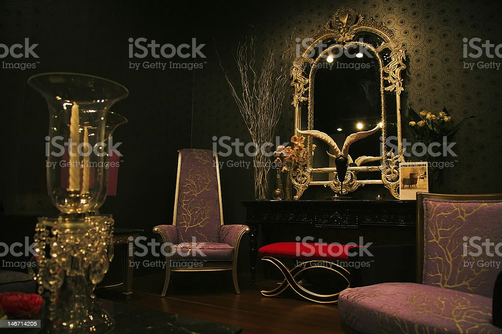 mysterious and chic furniture set stock photo