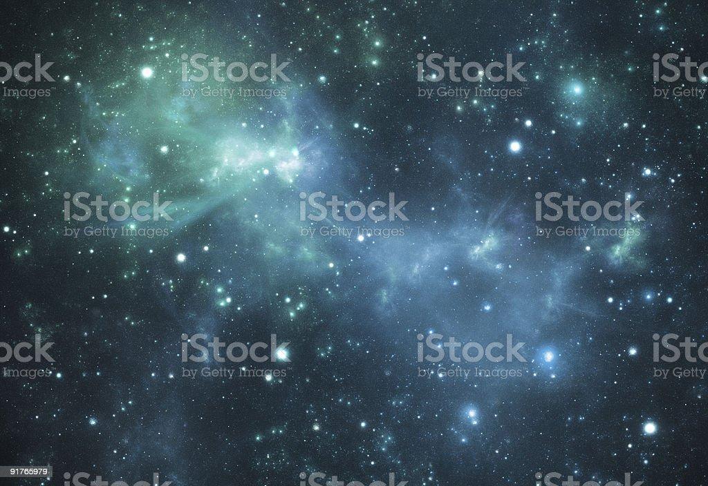 Mysterious beautiful blue space nebula stock photo