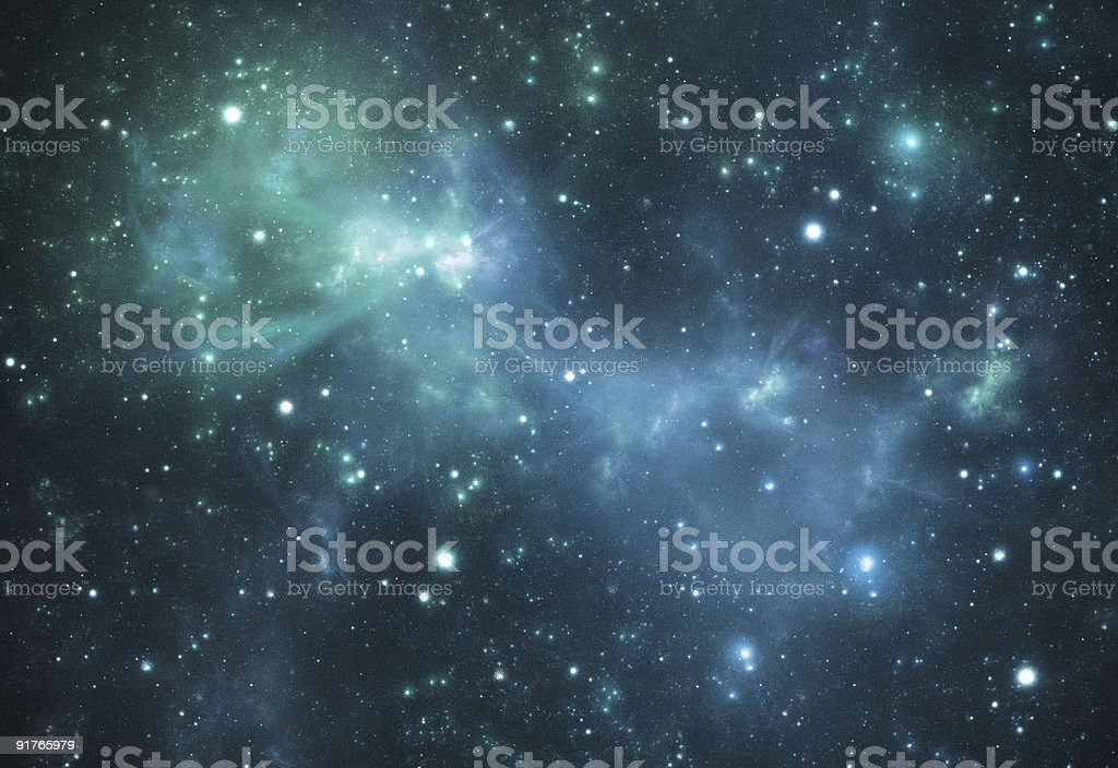 Mysterious beautiful blue space nebula stock photo