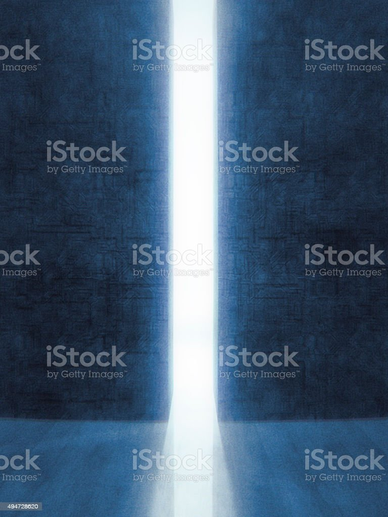 Mysterious bright passage into another realm stock photo