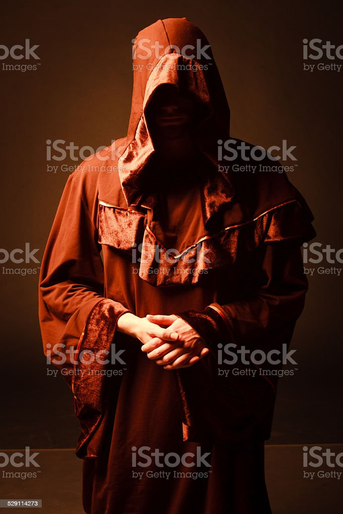 mysterious Catholic monk. stock photo