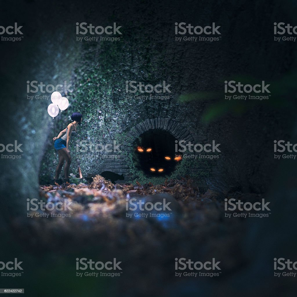 Mysterious creatures in the dark forest stock photo