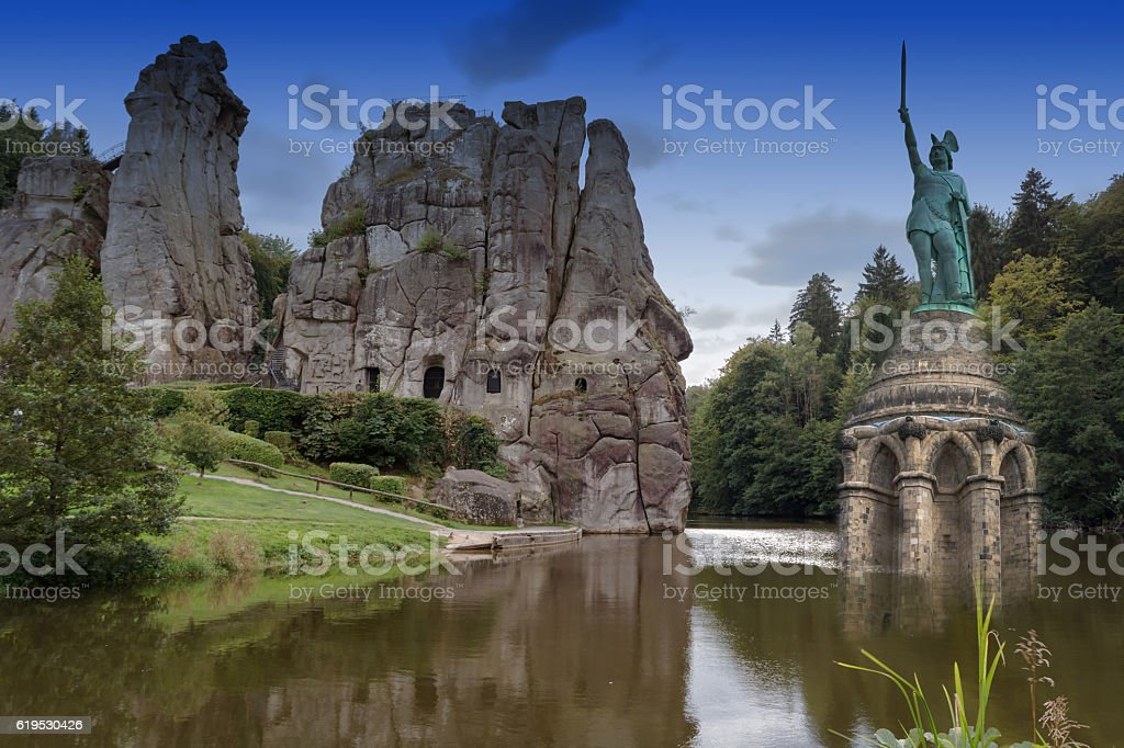 Mysterious Externstone and Hermannsmonument stock photo