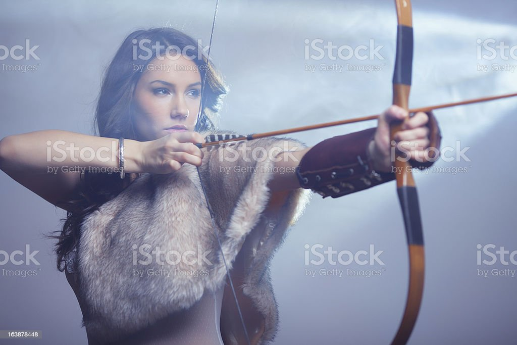 Mysterious Female Archer royalty-free stock photo