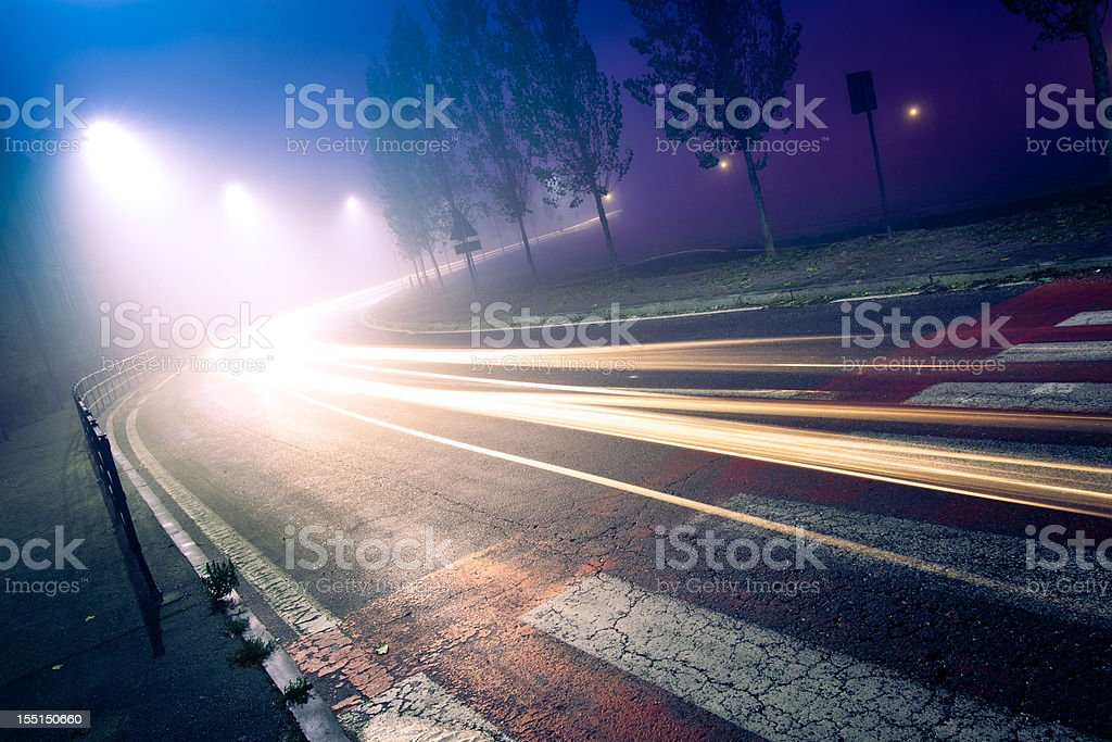 Mysterious foggy street royalty-free stock photo