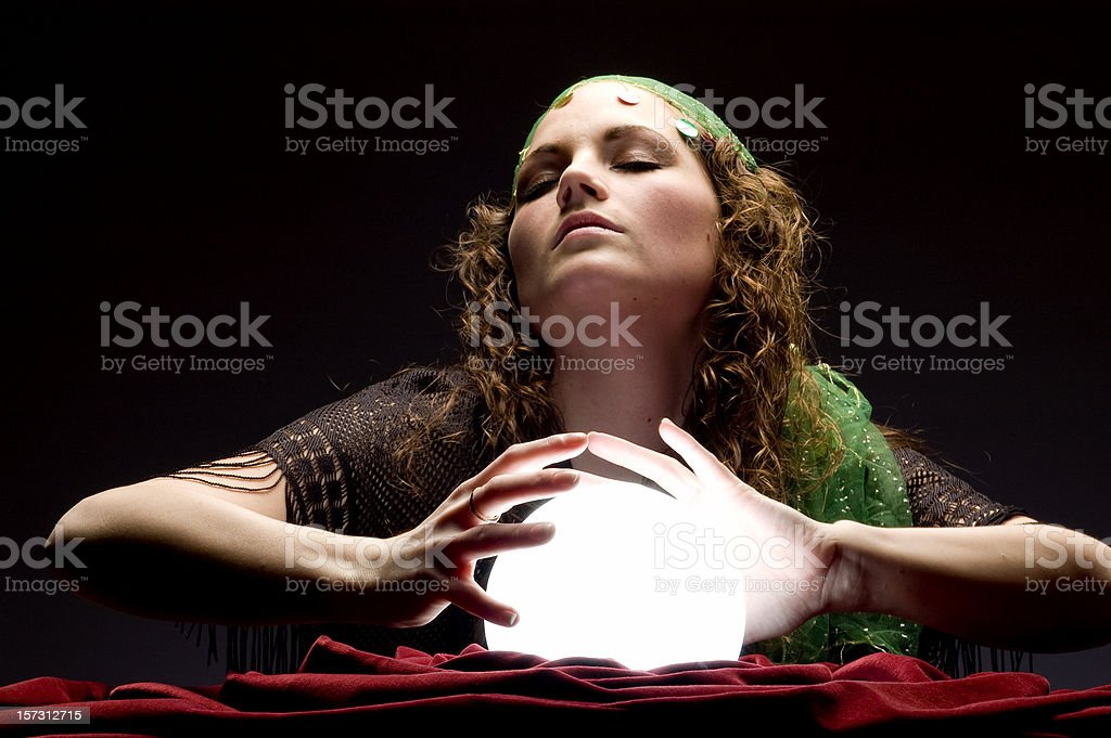 mysterious fortune teller in trance royalty-free stock photo