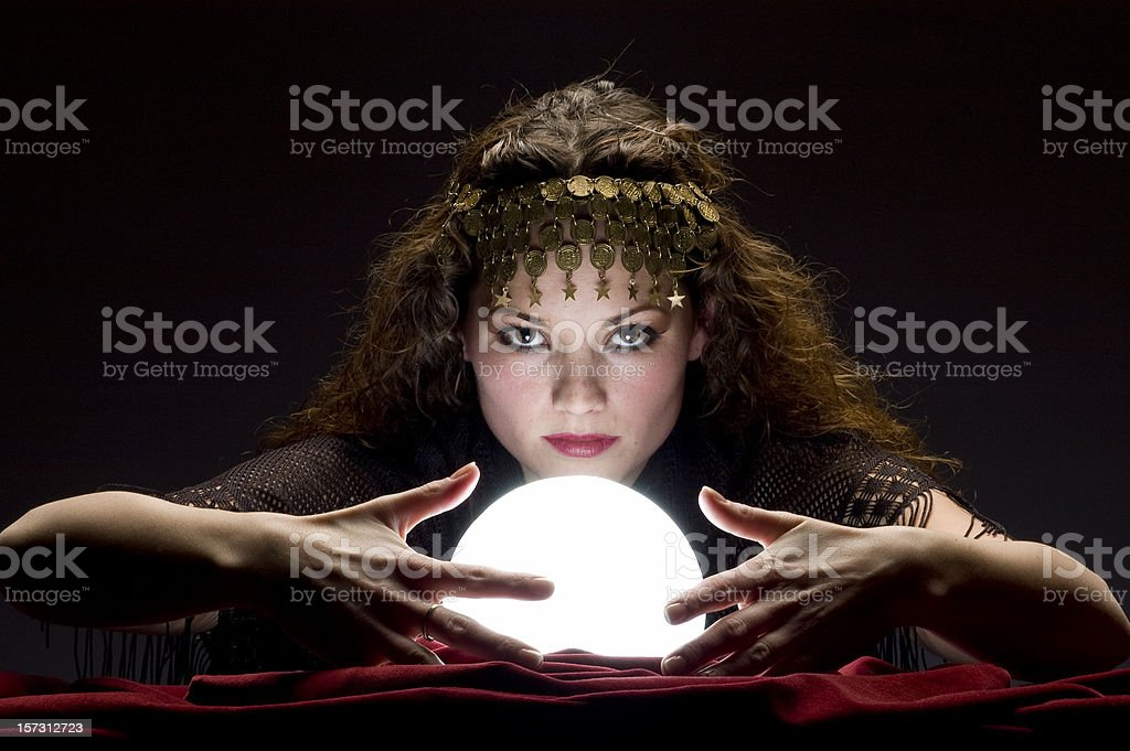 mysterious fortune teller stock photo