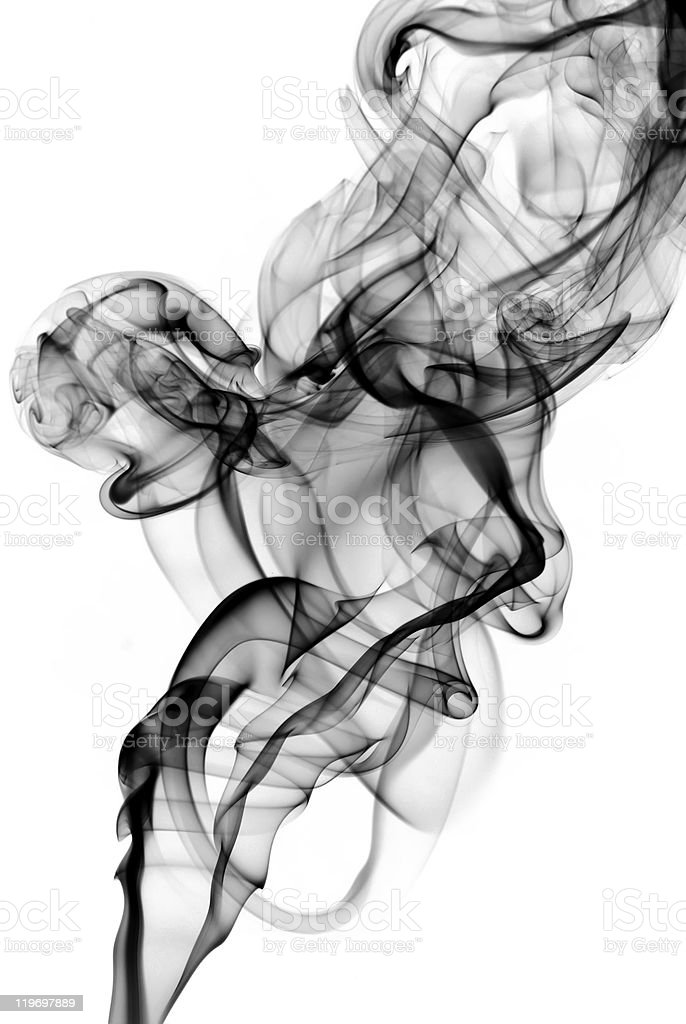 Mysterious Fume curves on the white royalty-free stock photo